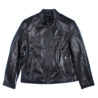 Marc New York by Andrew Marc Mens Leather Zip Front Jacket - Black