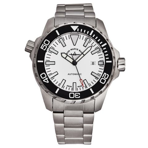 Zeno Men's 6603-2824-A2M 'Divers' White Dial Stainless Steel Automatic Watch