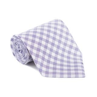 Tom Ford Mens Plaid Check White Purple Cotton Classic Tie - One size