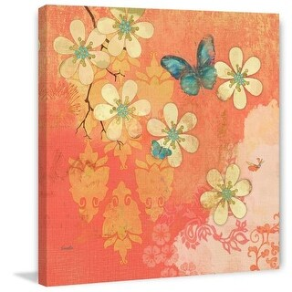 Marmont Hill Multi Blossoms Butterfly Evelia Painting Print on Canvas