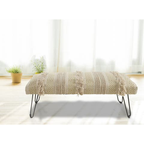 """LR Home Natural and Gold Tufted Geometric Indoor Bench - 1'6"""" x 3'11"""" x 1'4"""""""