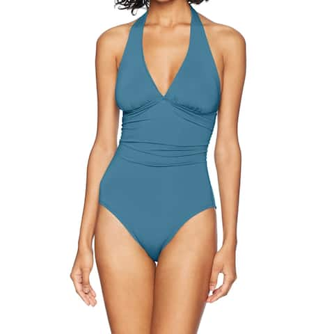 CARVE Designs Blue Womens Size Small S One-Piece Halter Swimwear