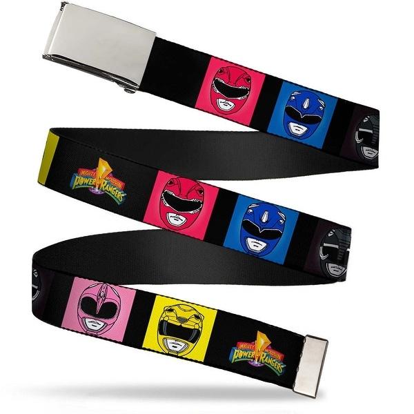 Blank Chrome Buckle Power Rangers Face Blocks2 Mmpr Logo Webbing Web Belt - S