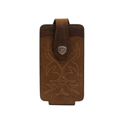 Ariat Western Cell Phone Case Leather Fancy Stitch Med Brown