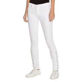 Blank NYC Womens Skinny Jeans Twill Lace-Up Ankle