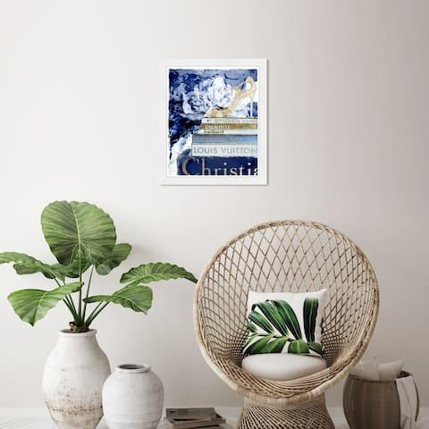 Wynwood Studio 'What's On My Mind Navy Custom' Fashion and Glam Blue Wall Art Framed Print