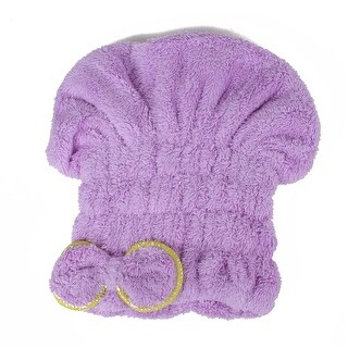 Unique Bargains Women Elastic Soft Microfiber Hair Drying Towel Wrap Terry Cloth Cap