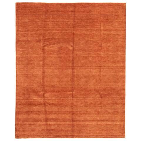 ECARPETGALLERY Hand Loomed Kashkuli Gabbeh Burnt Orange Wool Rug - 8'0 x 10'0