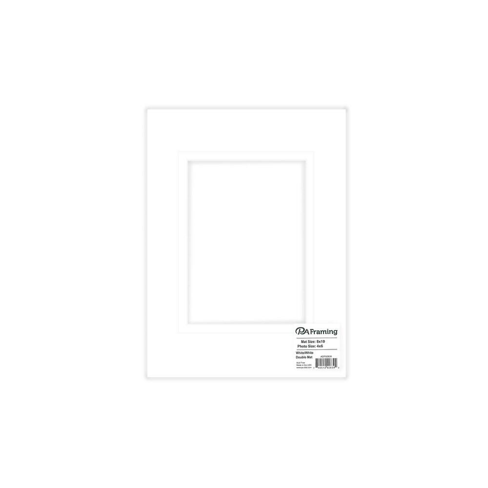 ADF Mat Dbl 8x10//5x7 BlkCore White//White