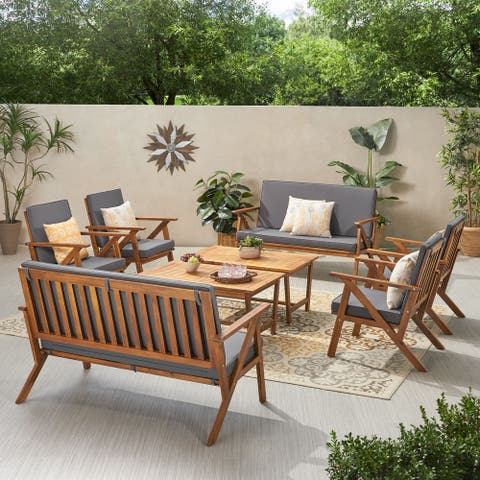 Panama Outdoor 8 Seater Acacia Wood Chat Set with Coffee Table by Christopher Knight Home