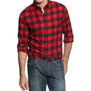 John Ashford Mens Button-Down Shirt Flannel Checkered