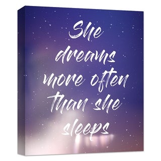 """PTM Images 9-124827  PTM Canvas Collection 10"""" x 8"""" - """"She Dreams More Than She Sleeps"""" Giclee Dream Art Print on Canvas"""