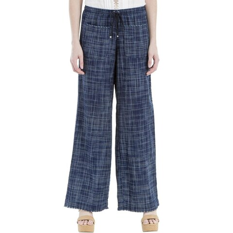 Max Studio London Cotton Frayed Wide Leg Pants Indigo