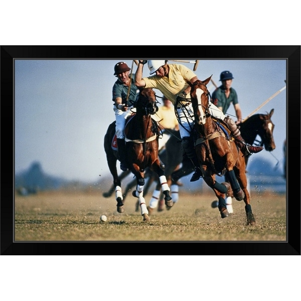 """""""Polo, players challenging for ball"""" Black Framed Print"""