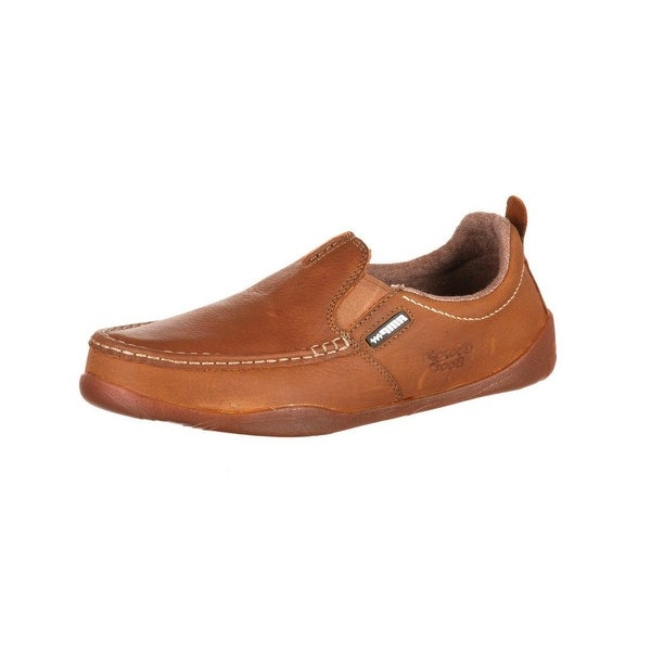Georgia Boot Outdoor Mens Moc Toe Slip On Leather Memory Foam Tan