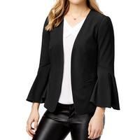 Kensie Black Womens Size Medium M Bell Sleeve Open Front Jacket