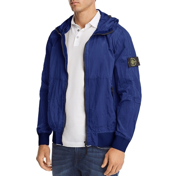 3eb87c3d37 Shop Stone Island Mens Nylon Metal Watro Hooded Jacket Small S Blue  Windbreaker - Free Shipping Today - Overstock - 25493427