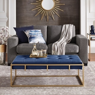 Link to Perdita Gold Finish Velvet Rectangular Tufted Cocktail Ottoman by iNSPIRE Q Bold Similar Items in Ottomans & Storage Ottomans