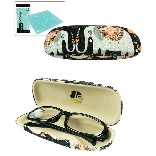 JAVOedge Cute Elephant Pattern Black Eyeglass / Reading Glass Hard Case and Bonus Microfiber Cleaning Cloth