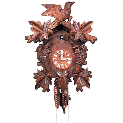 """14"""" Brown, Orange, and White Engstler Contemporary Full Size Weight-Driven Cuckoo Clock"""
