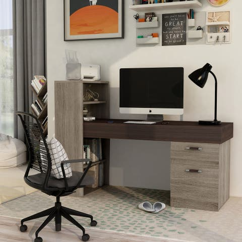 Furniture of America Wel Brown 2-piece Writing Desk and Shelf Set