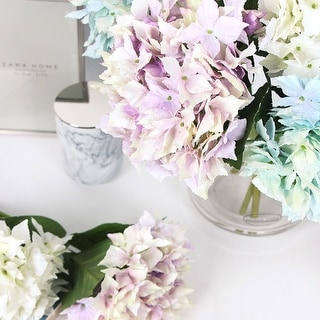 "FloralGoods Silk Lacecap Hydrangea Short Stem in Green Blue and Pink Purple and White 13"" Tall"