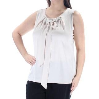 Womens Beige Sleeveless Jewel Neck Casual Top Size XL