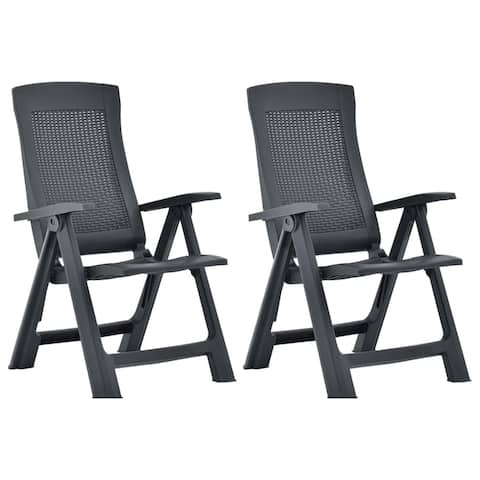vidaXL Garden Reclining Chairs 2 pcs Plastic Anthracite