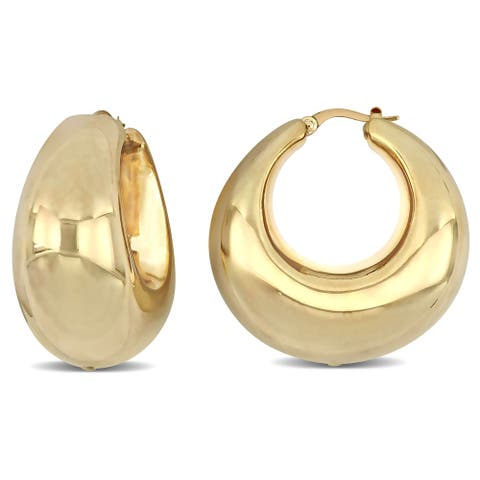 Miadora 14k Yellow Gold Broad Huggie Hoop Earrings