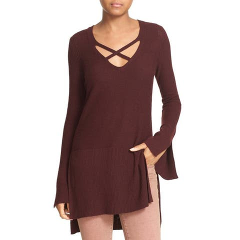 Free People Crisscross Sweater, Wine, Large