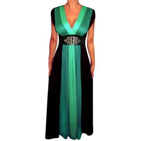 Funfash Plus Size Clothing Women Green Black Slimming Block Maxi Dress