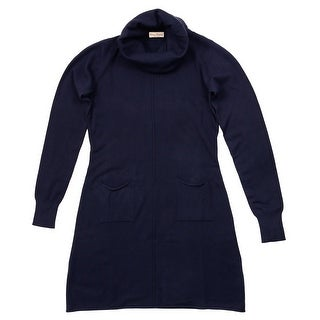 Cashmere Company VESTITO COLLO ALT MR Navy Blue Cashmere Blend Rolled Neck Dress