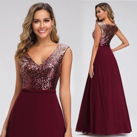 Ever-Pretty Womens Elegant A-Line V-Neck Sequin Evening Dresses for Women 00962