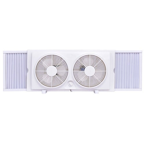 Costway 7'' Dual Blade Twin Window Fan 2-Speed Setting Reversible AirFlow Manual Control