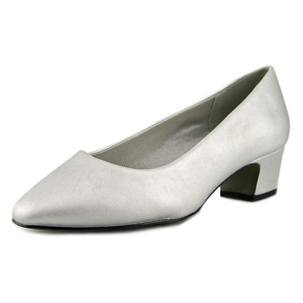 Easy Street Prim Women W Round Toe Satin Silver Heels