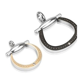 Pair of Stainless Steel Duo Tone Horseshoe with Single CZ Accent Couple Pendants (20 mm Width)