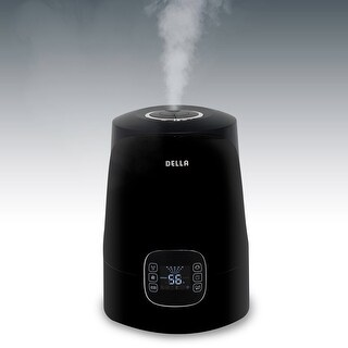 Della Cool & Warm Mist LED Ultrasonic Humidifier for Room Home Bedroom 4.5L Capacity, Timer, Black