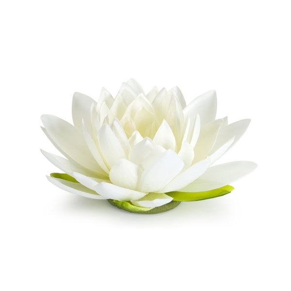 """Set of 12 White and Green Floating Lotus Flower 8"""" - N/A"""