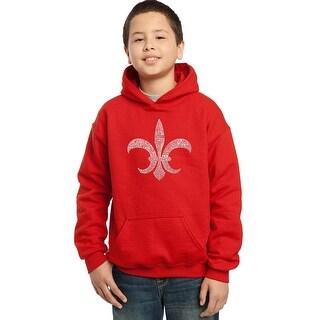 LA Pop Art Boy's Word Art Hooded Sweatshirt - FLEUR DE LIS - POPULAR LOUISIANA CITIES - Red, L
