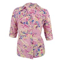NY Collection Women's Floral Print Tab Sleeve Blouse - Multi
