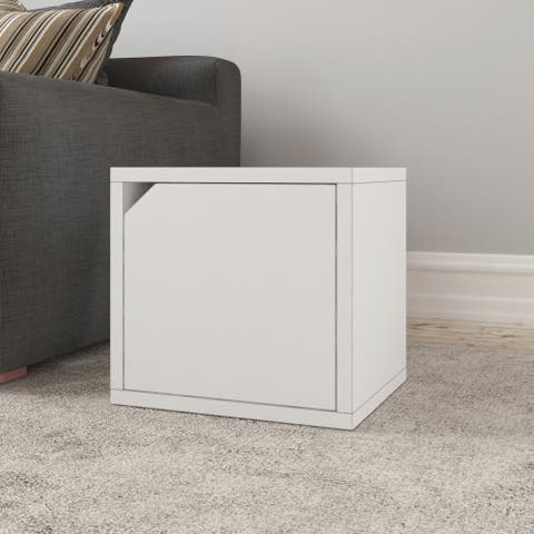 Way Basics Eco Stackable Connect Cube with Door, Modular Storage and Organizer, White