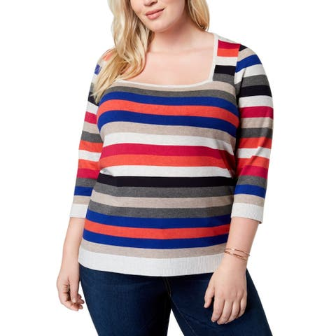 525 America Women's Sweater Brown Size 1X Plus Pullover Colorblock