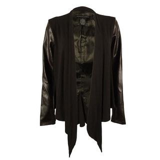 Grace Elements Women's Faux Leather Trim Draped Jacket
