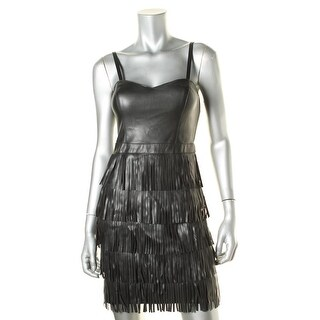 Guess Womens Faux Leather Fringe Party Dress - 2