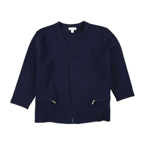 Charter Club Womens Ribbed Hem Cardigan Sweater, Blue, PXL