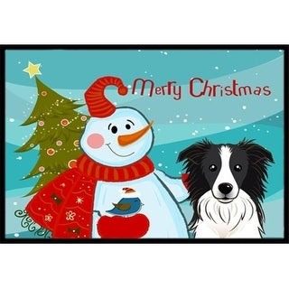Carolines Treasures BB1861JMAT Snowman With Border Collie Indoor & Outdoor Mat 24 x 36 in.