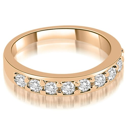 0.63 cttw. 14K Rose Gold Classic Prong Set Round Cut Diamond Wedding Band