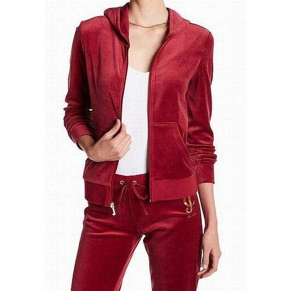 Shop Juicy Couture Red Velvet Women s XL Hooded Full Zip Sweater Jacket -  Free Shipping On Orders Over  45 - Overstock - 22128498 316ea2a8d9