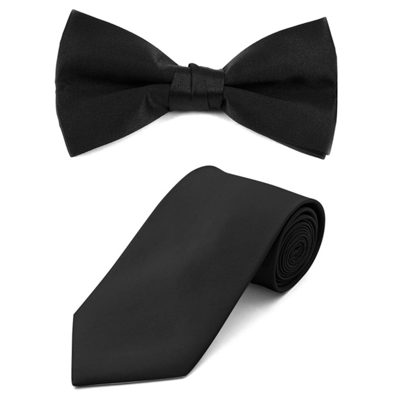 Mens Black Solid Diamond Tip Bow Tie DBB3030-45