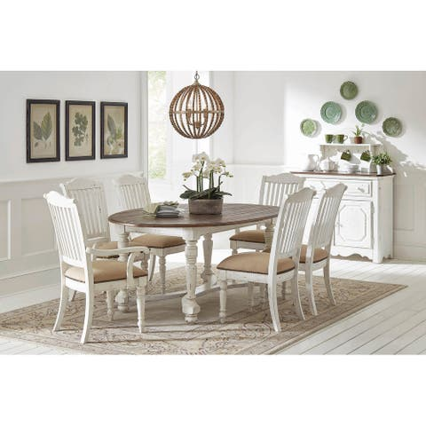 Emmery Vintage White 7-piece Oval Dining Set with 2 Arm Chairs